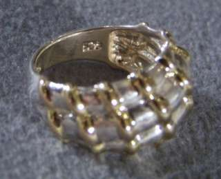 ANTIQUE ARTIST STERLING SILVER GOLD CIGAR BAND RING 8