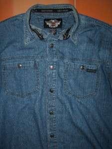 vintage HARLEY DAVIDSON denim shirt MOTOR CLOTHES mens Size L