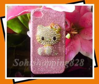 New 3D Pink Hello Kitty Bling Hard Case Cover For Apple iPhone 4G 4th