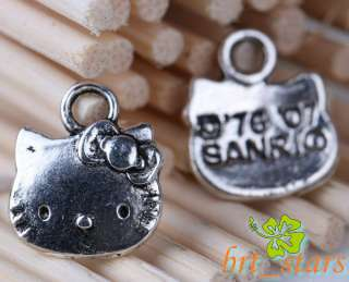 Tibetan silver bali style hello kitty cat charms Pendant 13*11mm TS683