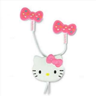 Hello Kitty Stereo Earphones Headphones Earbuds Crystal Ribbon Pink