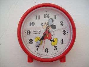 Mickey Mouse Lorus Quartz Travel Alarm Clock JAPAN Red