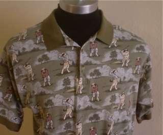 Mens Big Dogs Green Golf Polo Hawaiian shirt XL LOOK