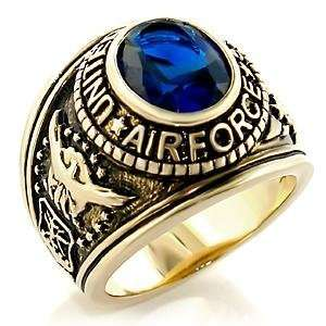 RING FOR MEN   Gold Plated Oval Blue CZ Air Force Ring Jewelry