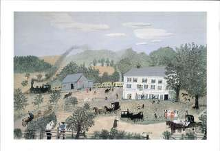 GRANDMA MOSES print country inn EAGLE BRIDGE HOTEL