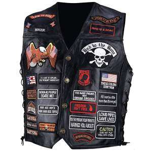 Motorcycle Bikers Leather Vest with 41 Biker Patches Side Laces
