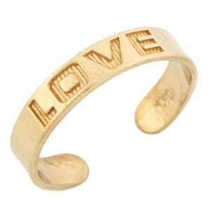 10k Solid Yellow Gold Love Toe Ring Jewelry