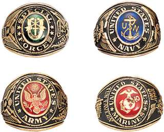 Gold Engraved Military 18K Ring US Special Forces Army Navy Marines