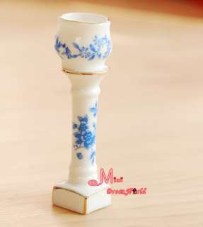 12 Dollhouse Miniature Porcelain Vase W/ Stand Set
