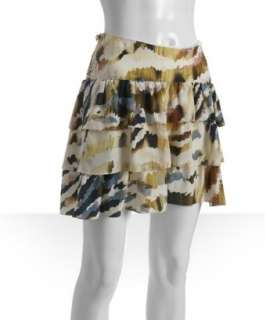 Geren Ford ivory tiger print silk tiered ruffle skirt   up to