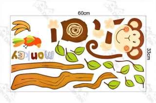 Wall Mural Removable Deco Sticker Monkey Tree Nursery Kids Decal Wall