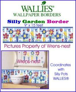 WALLIES 1 Roll SILLY GARDEN Flower POTS WALL BORDERS