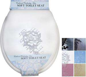 EMBROIDERED SOFT PADDED CUSHION TOILET SEAT