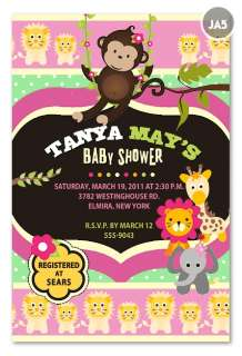20 Customized PHOTO Rainforest Zoo Monkey Jungle Baby Shower