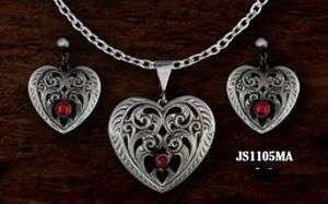 Jewelry Set Filigree Heart Red Stone Gun Metal Montana Silversmith