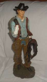 Large 19 Resin Cowboy Statue Horse Rider