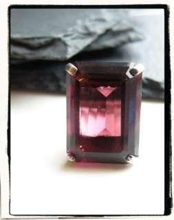 Art Deco Dark Amethyst Purple Glass STERLING SILVER 925 Cocktail Ring