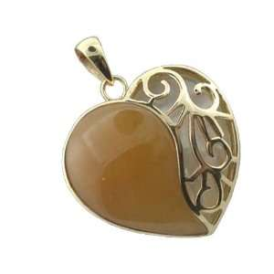 and White Mother Of Pearl Uncovered Heart Pendant, 14k Gold Jewelry