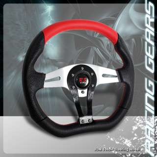 JDM Chrome Red Stitched Black PVC Leather Racing Steering Wheel