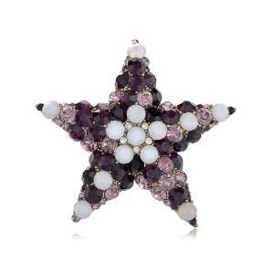 Amethyst White Opal Crystal Rhinestone Holy Star Fashion Pin Brooch