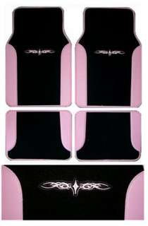 PINK BLACK Car Truck SUV Seat Cover Floor Mats 15 pieces