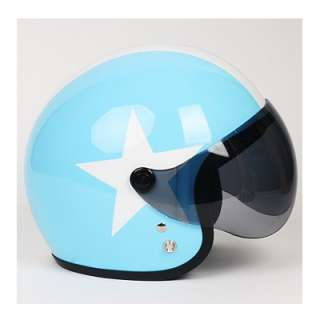 Motorcycle Vespa Scooter Jet Helmet Open Face BLUE (L)